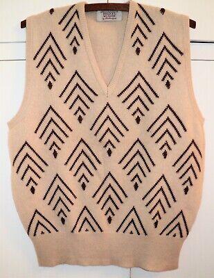 Vtg Ballantyne CASHMERE SWEATER VEST Geometric Tan Brown M/L for BULLOCK'S