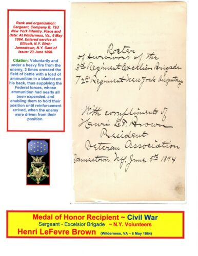 RARE -Medal of Honor Recipient ~ Civil War ~ Display w/Bio ~ Henri LeFevre Brown