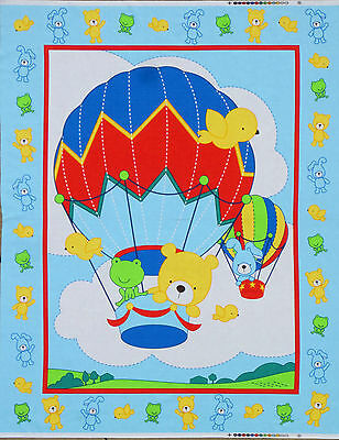 NURSERY HOT AIR BALLOON BEAR FABRIC WALLHANGING LAP / QUILTING PANEL 100% COTTON - Hot Air Balloon Craft