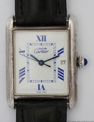 Vintage Must de Cartier Tank Sterling Silver White Dial Blue Roman Mens Watch