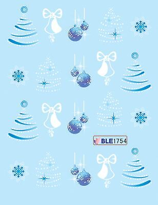 Christmas Blue White Xmas Tree Baubles Snowflakes Nail Art Water Transfer Decals