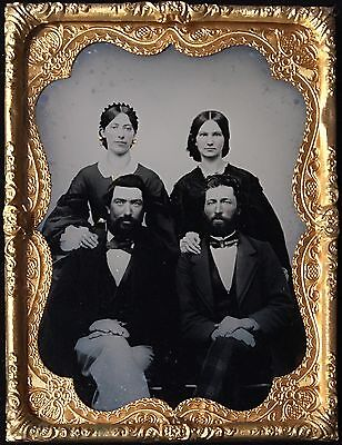 PAIR OF ATTRACTIVE COUPLES TWIN BROTHERS AND THEIR WIVES 1/4 RUBY AMBROTYPE A136