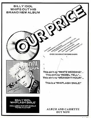 Billy Idol : Whiplash Smile Advert 11x8 (Our Price) FRAMED