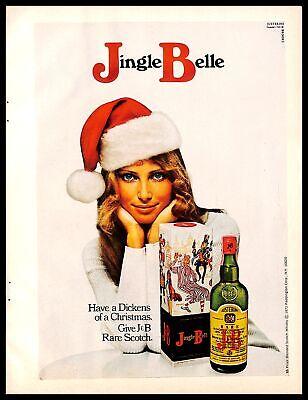 1971 J&B Rare Scotch Vintage PRINT AD Jingle Belle Christmas Holiday Woman Hat