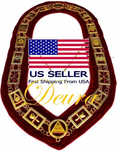Masonic ROYAL ARCH MARK MASTER Metal Chain Collar RED VELVET USA SELLER