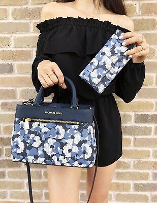 Michael Kors Hailee XS Navy white Floral Satchel + Wallet Set