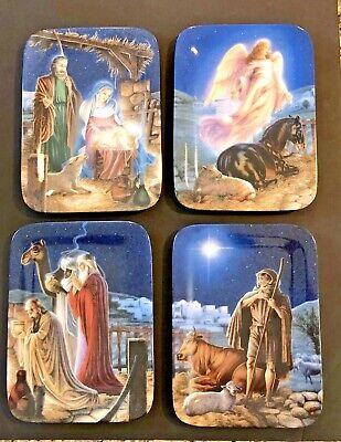 Bradford Exchange O Holy Night Plate Collection Douglas Klauba set of 4 NATIVITY