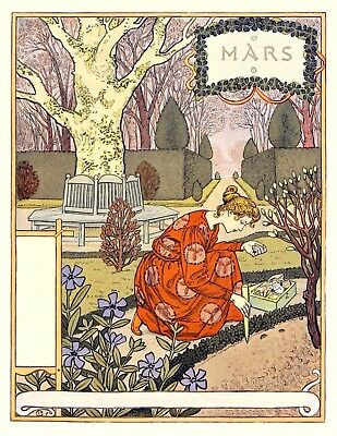 Postcard: Vintage Print Repro - Eugene Grasset - March - Woman Planting Bulbs ()