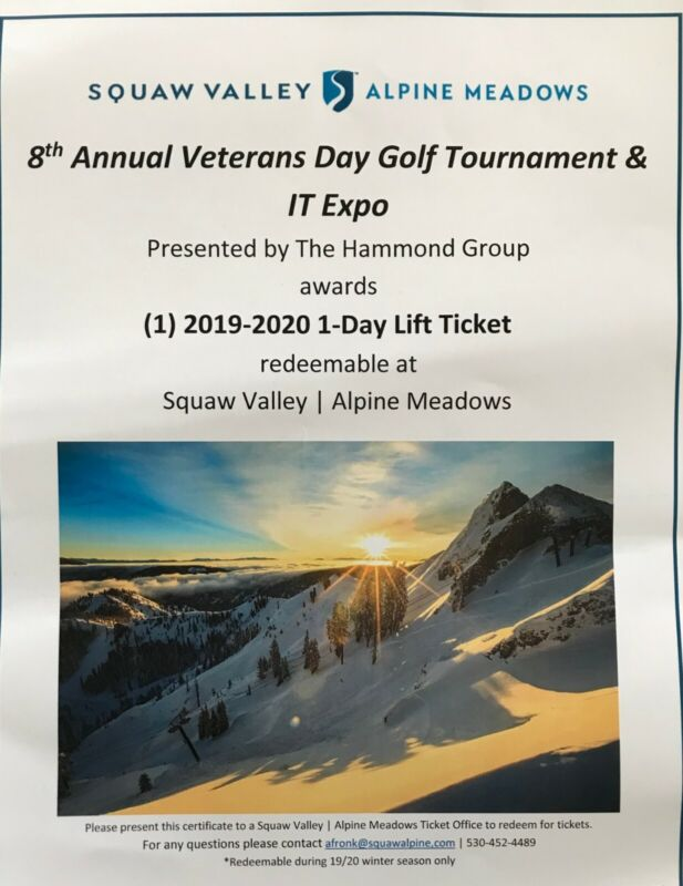 1 Squaw Valley / Alpine Meadows 2019-2020 Day Lift Ticket