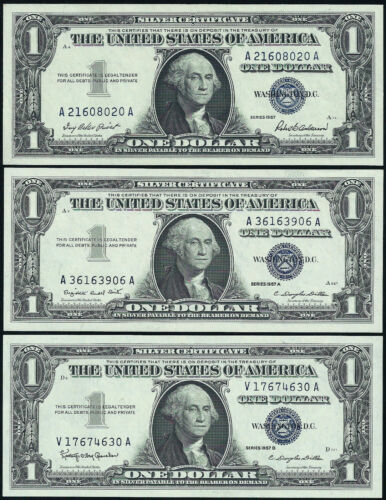 $1 1957, A OR B SILVER CERTIFICATES CHOICE UNC GEM BU NOTE = GREAT GIFT =