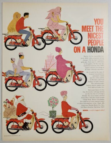 1963 Print Ad Honda 50cc Motorcycles You Meet the Nicest People on a Honda Santa