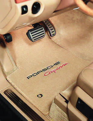Porsche Cayenne Plush Carpet Floor Mats logo -Beige -Lloyd 32oz Fits 2003-2010