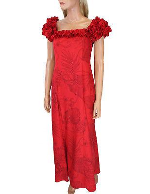 Rich Vibrant Red Monstera Ceres Hawaiian Print Long Ruffled MuuMuu/Wedding/Prom