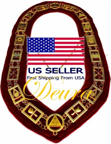 Masonic Regalia Royal Arch gold Chain Collar Red Lining Backing