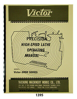 Victor Lathe 2000 Series Operating Manual 1395