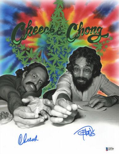 CHEECH AND CHONG SIGNED AUTO 11X14 PHOTO 'UP IN SMOKE' BAS BECKETT COA 367