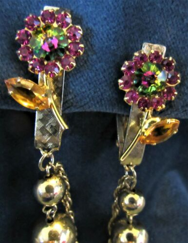Vintage Aurora Borealis Rhinestone Flower Sweater Dress Scarf Guard Clip