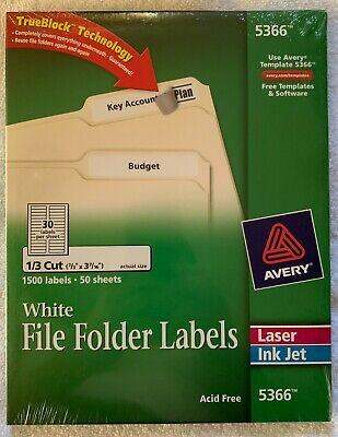 Avery 5366 File Folder Labels White Laserinkjet 23 X 3 716 1500 Labels