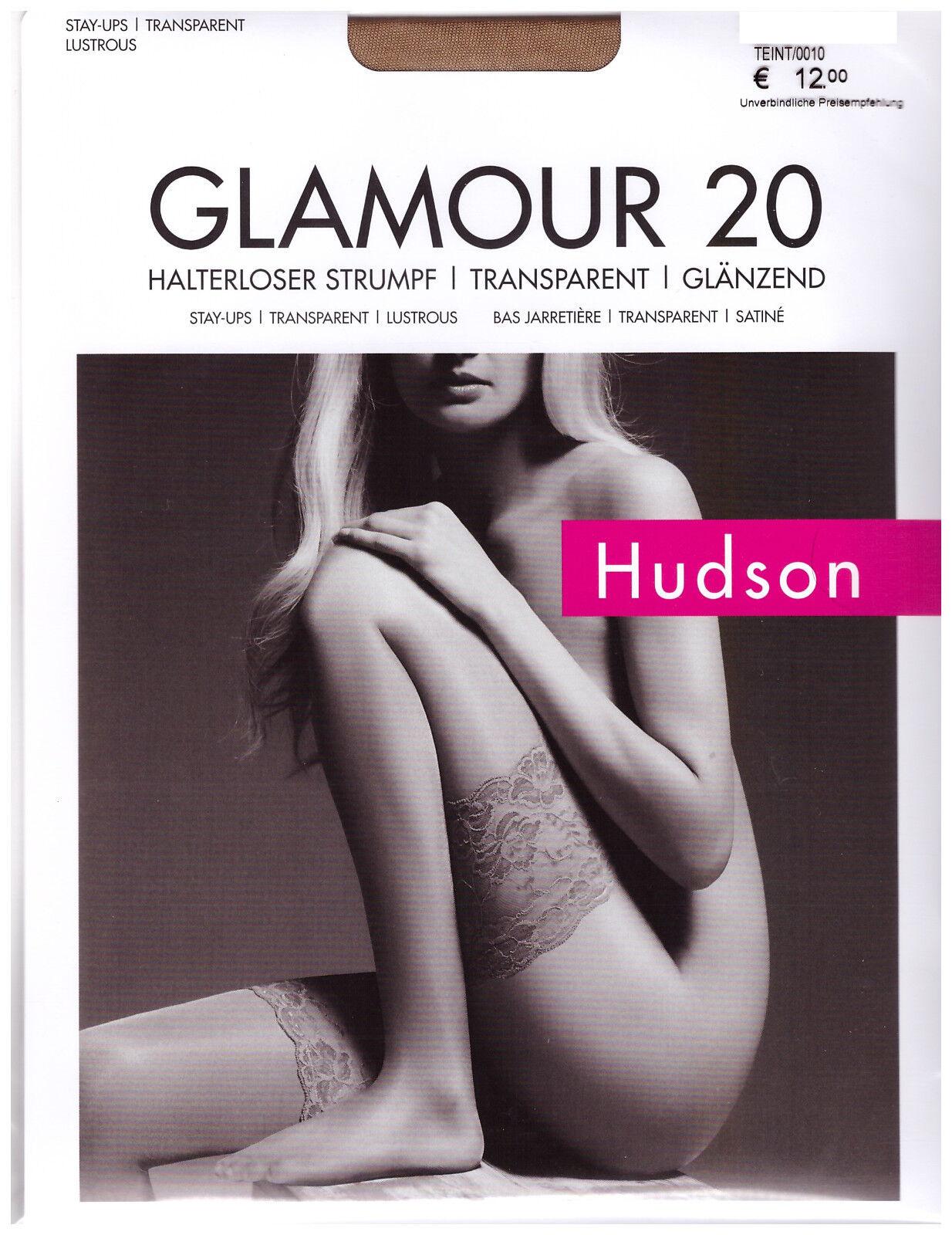 """Hudson """"Glamour 20"""" halterlose Strümpfe transparent glänzend"""