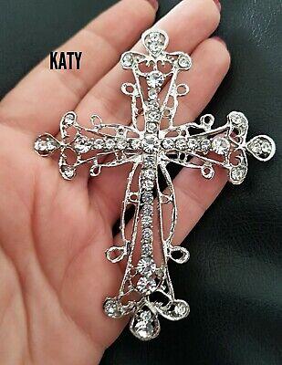Vintage Look Very LARGE Cross Silver Crystal Diamante BROOCH Pin Broach Gift UK