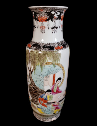 """13 3/8"""" TALL VINTAGE CHINESE PORCELAIN VASE FAMILLE ROSE SCENIC DECORATION CHINA"""