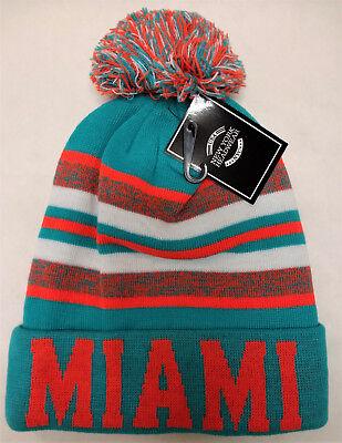 (Miami Dolphins Team Color Sideline Replica Tri-Color Pom Pom Knit Beanie Hat)