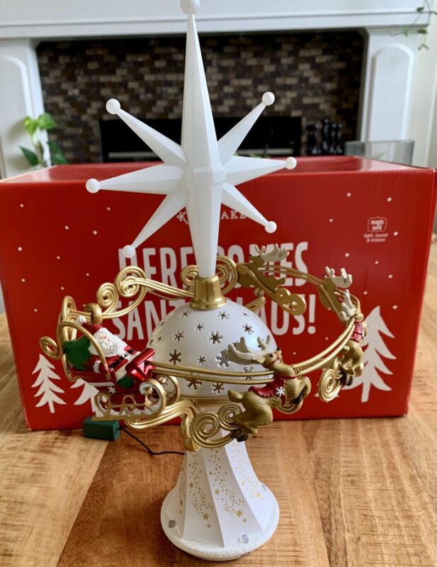 Hallmark Here Comes Santa Claus Christmas Tree Topper 2014 Mint In Box Remote