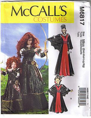 Misses Princess Merida Brave Archer Vampire Costume Sewing Pattern Size S M L XL](Merida Plus Size Costume)
