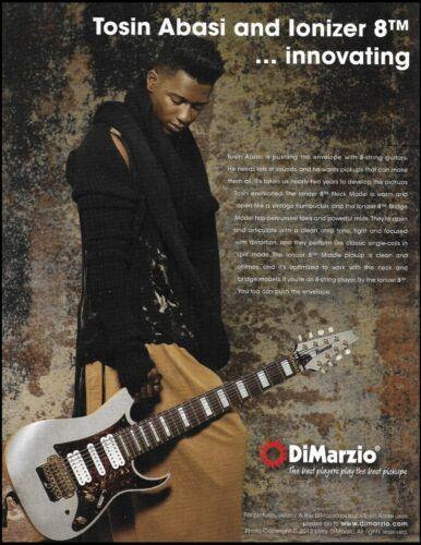 Tosin Abasi has DiMarzio Ionizer 8TM pickups on Ibanez guitar 2012 ad print