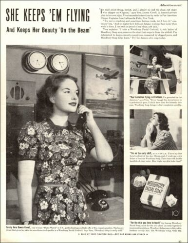 1943 WW2 era ad for WOODBURY Facial Soap Pan American Air Controller 090819