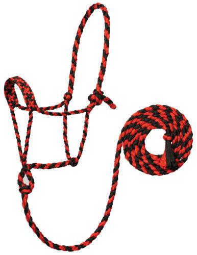 Weaver Leather Braded Mule Tape Rope Halter W/Lead 35-7820-102 Red/Black