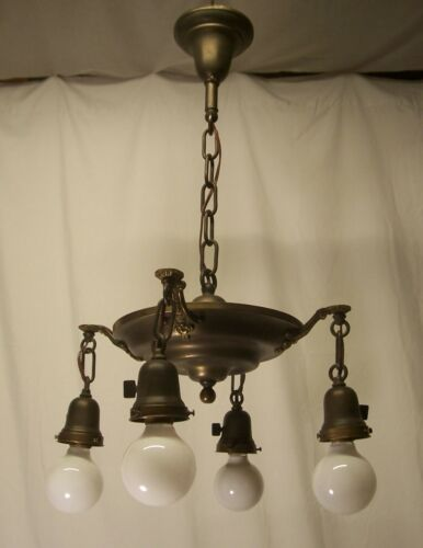 Antique Chandelier Pan Fixture Brass Vtg Art Deco Four Light Rewired USA #P4