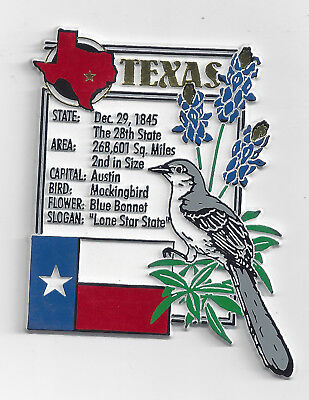 TEXAS  STATE MONTAGE FACTS MAGNET with state  bird  flower  and flag,   AUSTIN