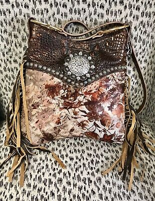 Brown Leather Magnet Concho (Raviani Western Fringe Bag W/Floral Acid Wash & Brown Crocodile Leather)