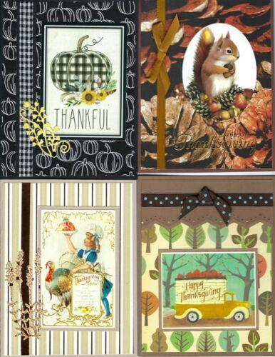 Handmade half VINTAGE THANKSGIVING CARDS #T7-Lot of 4