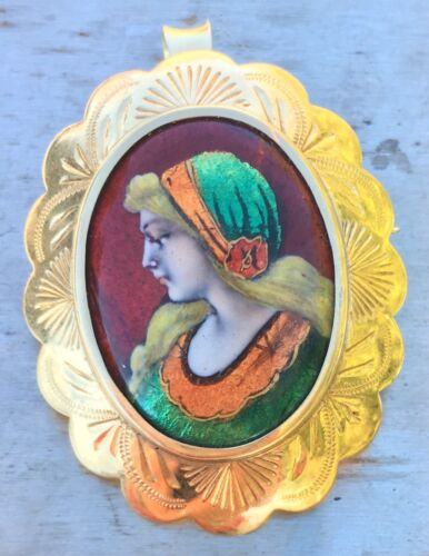 French Art Nouveau 14k Signed Limoges Hand Painted Porcelain Brooch Pendant