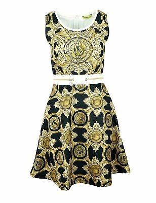 VERSACE JEANS D2HNA402 Damen Women Kleid Dress Schwarz Gold XS,S,M,L,XL UVP:220€