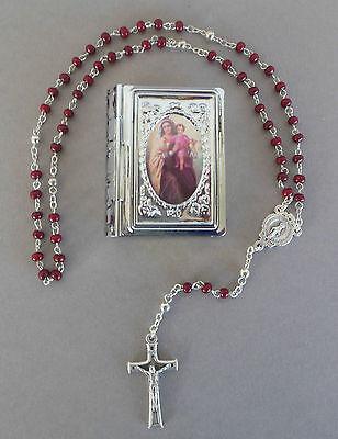 Rosenkranz rote Holzperlen,Schatulle Mutter Gottes Kommunion Mädchen RL 633 -6