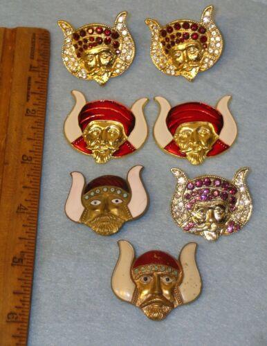 7 Vintage MASONIC MOVPER GROTTO Enamel & Rhinestone Pins
