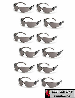 PYRAMEX INTRUDER SAFETY GLASSES SMOKE/GRAY LENS SUNGLASSES Z87+ S4120S (12 PAIR)