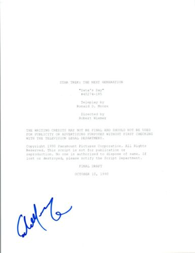 "Colm Meaney Signed STAR TREK THE NEXT GENERATION ""Data's Day"" Script COA"