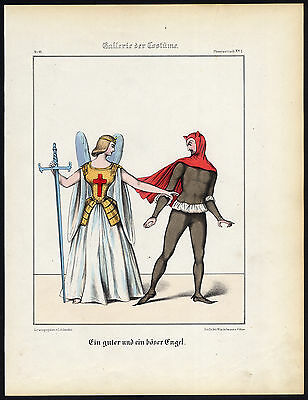 Antique Print-GOOD AND BAD ANGEL-THEATER PLAY-COSTUME-Schneider-1844