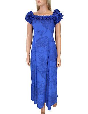 Easter/Prom Royal Blue on Blue Long Ruffled MuuMuu Monstera Ceres Hawaiian Print