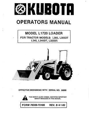Kubota Tractor L305 L345 L355ss Operators Manual With Loader 1720 Cd
