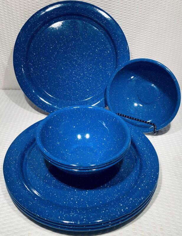 Lot Of 8 ~ Vintage Metal Blue & White Speckled Enamelware Dinner Plates & Bowls