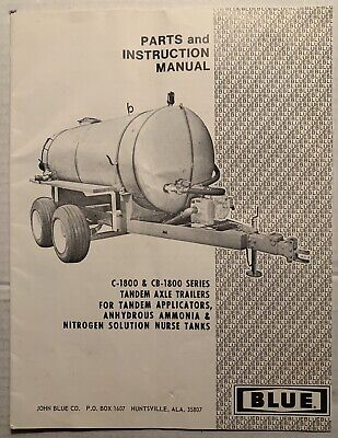 John Blue C-1800 Cb-1800 Tandem Axle Trailer Operation Parts Owners Manual
