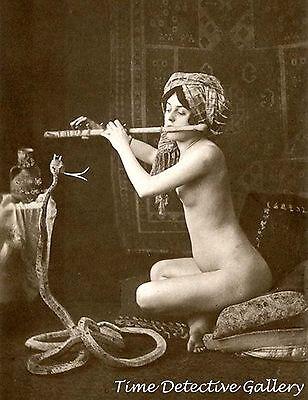 Nude Woman Snake Charmer - Early 1900s - Historic Photo Print (Woman Snake Charmer)