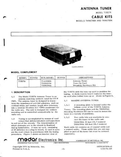 MODAR Motorola T1827A HF Antenna Tuner Manual