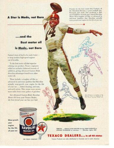 Otto Graham Cleveland Browns football Texaco Havoline Oil advertisement VG
