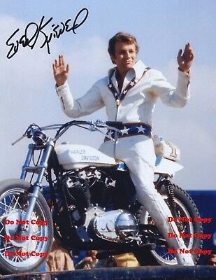 "EVEL KNIEVEL AUTOGRAPHED 8X10"" PHOTO EVIL Daredevil Man Cave Decor Sign Pic Pix"